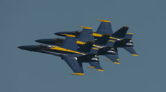 Navy Blue Angels Jets In Performance At Air Show In Tight Formation Stock Footage