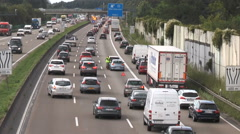 Accident and traffic jam on German highway - time lapse Stock Footage