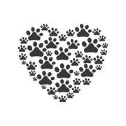 Foot print heart love pet animal icon. Vector graphic Stock Illustration