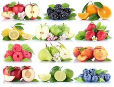 Fruits apple orange berries apples oranges strawberry collection isolated on  Stock Photos
