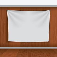 Background for poster mockup with curtain hang on wood wall Stock Illustration