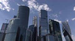 Moscow International Business Center, crowded block of glossy skyscrapers - stock footage