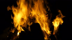 Footage burning fire in the night. 4K Stock Footage