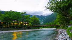 Stationary Time-Lapse Evening at Kappa-bashi Bridge, Kamikochi Japanese Alps Stock Footage