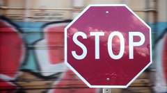 Stop Sign Detail at Train Crossing Stock Footage