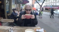 Woman Drinks Cappuccino French Cafe Stock Footage