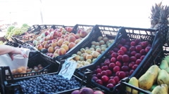 Woman Selecting Fruit on Showcase At Street Market Stock Footage