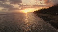 4K Aerial Sunset: Flying Down The Hawaiian Islands Coast line @ Sunset Stock Footage
