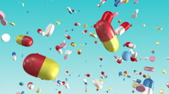 Pills falling. Loop section from 10 seconds to 20 seconds. Medical, Healthcare. Stock Footage