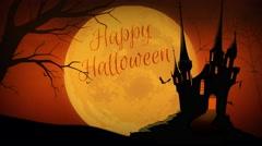 Full Moon Happy Halloween Castle 4K Loop Stock Footage