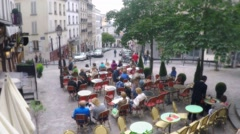 French Cafe Restaurant  Montmartre Stock Footage
