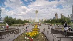 ASTANA - CIRCA SEPTEMBER 2014: Central Asia, Kazakhstan, Astana, Nurzhol Bulvar Stock Footage