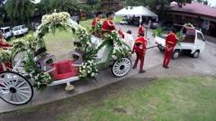 Wedding chariot prepared for royal wedding Stock Footage