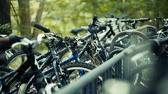 4K UHD Bike Rack in the Woods Stock Footage