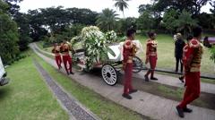 Wedding chariot prepared for royal wedding - stock footage