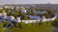 Moscow citycape architecture landmarks Novodevichy Convent and pond aerial view. Stock Footage
