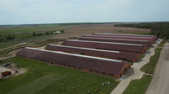 Aerial shot roof of the animal houses in the farm Stock Footage