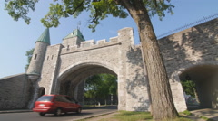 Porte St Louis city gate in Quebec City, Canada. Stock Footage