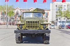 Military transport at the exhibition Stock Photos