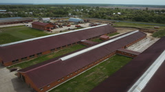 Aerial shot agricultural livestock complex Stock Footage