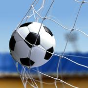 Soccer ball is in goal net Stock Photos