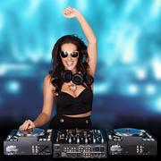 Jubilant sexy female disc jockey Kuvituskuvat