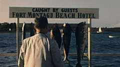 Nassau, Bahamas 1947: fish caught by guests of Fort Montagu Beach Hotel Stock Footage