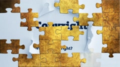 Grunge puzzles over copyright concept Stock Footage