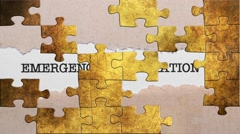 Grunge puzzles over emergency information Stock Footage