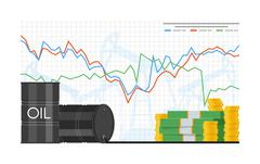 Barrel of oil price chart vector illustration in flat style. Stock graph on Stock Illustration