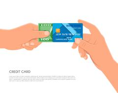 Human hand holding bank credit card and cash money. Financial business payments - stock illustration