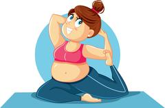 Plus Size Girl in Yoga Pose Vector Illustration - stock illustration