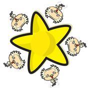 Einstein running around a star Stock Illustration