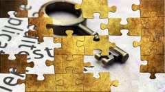 Grunge puzzles over estate and bank concept Stock Footage