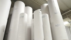large rolls of paper at the warehouse 1 Stock Footage