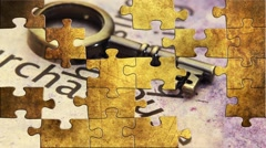 Grunge puzzles over housing concept Stock Footage