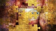 Grunge puzzles over freedom concept Stock Footage