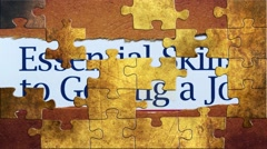Grunge puzzles over getting a job concept Stock Footage