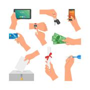 Vector set of human hands holding money, credit card, phone and key. Design Stock Illustration