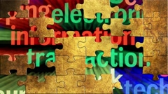Grunge puzzles over web information concept Stock Footage