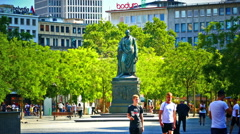 Goethe Platz square Goethe statue old town Frankfurt am Main Germany Europe Stock Footage