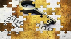 Grunge puzzles over  housing and banking concept Stock Footage