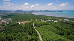 Aerial View From Panwa Viewpoint Towards Phuket Town Stock Footage