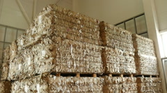 A large warehouse of waste paper in a factory 1 Stock Footage