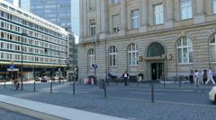 Deutsche Bank Commerz Bank at Roßmarkt old town Frankfurt am Main Germany Europe Stock Footage
