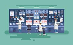 Illustration interior science base, nuclear power plant in flat style Stock Illustration