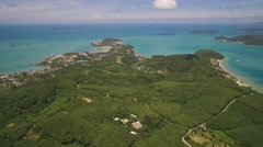 Ascending Aerial Shot of Cape Panwa in Phuket Thailand Stock Footage