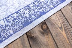Blue cloth on wooden table, top view Stock Photos