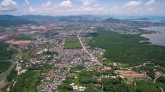 High Aerial View Across Chalong and Phuket Town in Thailand Stock Footage