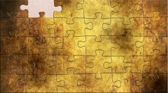 Grunge puzzles over  congratulation text - stock footage